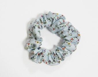 Floral Blue Hair Scrunchie Cotton Nature Grunge 90s Flowers Ties Bun Wraps Elastics Girl Gang Femme Accessory Cute Vintage Hippie Girly Gift