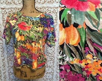FLASH SALE!!Colorful Vintage Tropical Tee Short Sleeve Tee Floral Print Blooming Shirt Short Sleeve Top Rainbow Top Comfy Summer Shirt