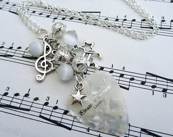 Plectrum charm necklace, white beads, guitar pick, silver music charms Rock'n'Roll Star