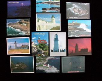 13 Vintage Maine Postcards of Lighthouses