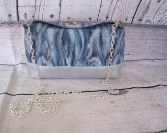 Blue and Silver shoulder Clutch