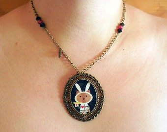 The White Rabbit. Necklace. Cameo