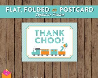 Thank You Card - Thank Choo - Train Birthday - Turquoise Orange Gray - POSTCARD or FOLDED or FLAT Notecard - Choose Digital or Printed