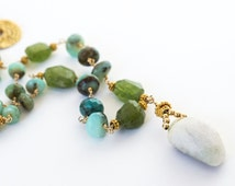 Blue Peruvian Opal and Peridot Nugget Statement Necklace | Peridot and Pearl Necklace | Wire Wrapped Peridot and Pearl Necklace