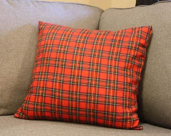 Red Plaid Tartan Pillow