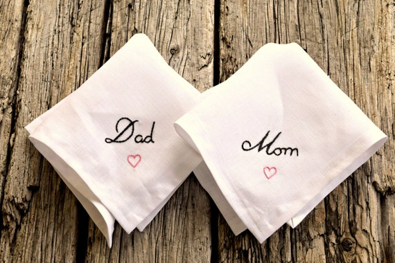 Wedding Gifts For Parents Ireland : Day Handkerchief Set for Mom and Dad, Wedding Hankies for Parents ...