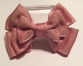 Pail pink 3 layer bow
