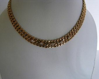 Gold tone flat cable chain diamnate necklace