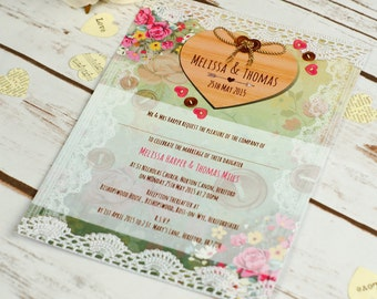 Vintage Lace Wedding Invitation, rustic country wedding, rsvp, watercolour, bohemian, floral invite, personalised and handmade, shabby chic
