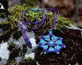 Macrame Mandala Pendant, Mandala necklace, Glow in the dark pendant, Forest Fairy Necklace, Macrame jewelry, elf necklace