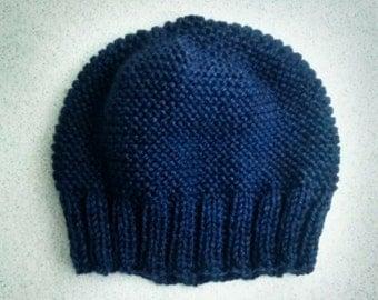 Blue Hand Knit Beanie Hat