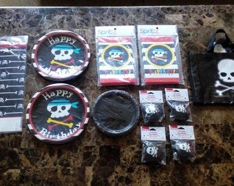 Pirate Party Package,Pirate Plates,Pirate Favors,Favor Bags,Pirate Tablecloth,Pirate Eye Patch,Pirate Favor Bags,Centerpieces,Party Supplies