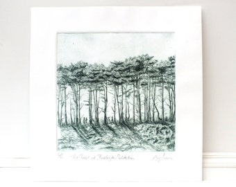 Trees at Budleigh Salterton, Drypoint