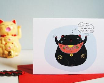 Good Luck Card - Funny - Lucky Cat - Maneki Neko - Talisman- Charm