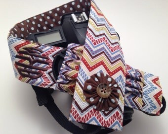 Multi-Chevron with Brown Dot Flower - Monogrammed DSLR Camera Strap Cover with Lens Cap Pocket