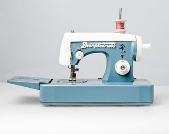 CUTE Toy SEWING machine made by Soviets. Ussr made rare vintage Blue sewing machine in great condition!