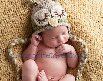 SLEEPY OWL Photo Prop Hat Crochet Owl Hat with Braids Neutral colors Tan Tweed, Olive Green in Preemie Newborn 0-3 months baby boy baby girl