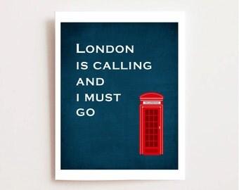 London Art Printable - London Travel Art - England Home Decor - Red Phone Box