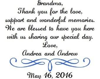Weddings Grandmother of the Bride Wedding Handkerchief - Thank you for your love - Mom - Bridal -Hankie - Hanky