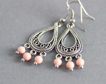 Silver Chandelier Earrings Coral Earrings Delicate Earrings Gemstone Chandelier Earrings Small Chandelier Silver Pink Earrings Boho Earrings