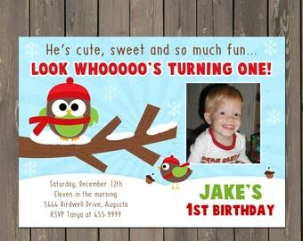 Owl Birthday Invitation, Winter Owl 1st Birthday Invitation, Boys Winter Snow Birthday Invite, Printable or Printed
