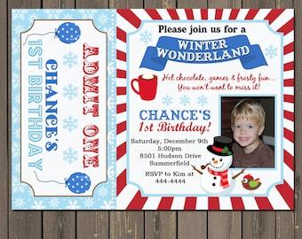 Winter Snowman Birthday Invitation, Winter wonderland ticket invitation, Winter Carnival, snowman birthday invitation, DIY or Printed