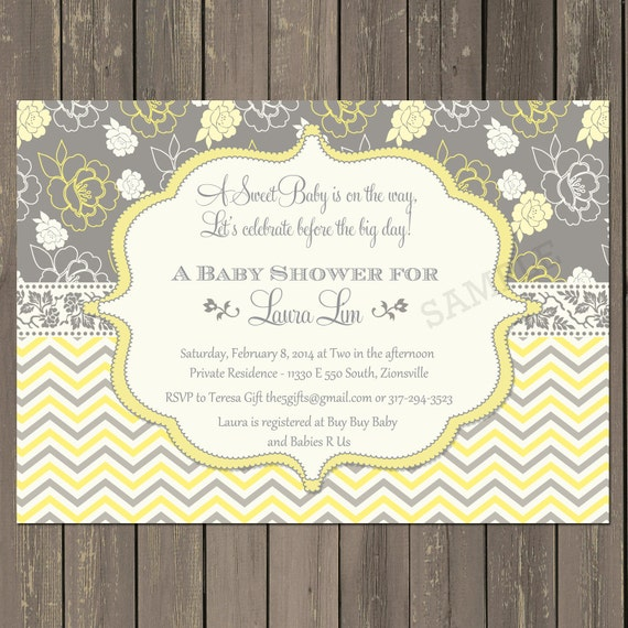 yellow and grey baby shower invitation yellow floral baby shower