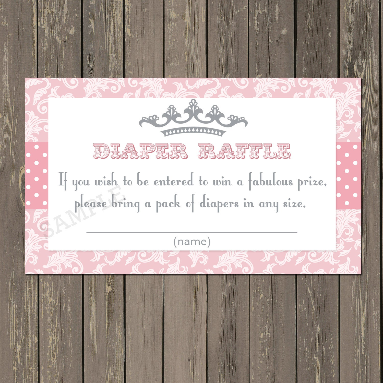 Diaper Raffle Tickets Princess Baby Shower Diaper Raffle