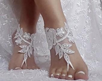 free ship bridal anklet, ivory white lace sandals, Beach wedding barefoot sandals, bangle, wedding ankle anklet, bridal, bellydance, gothic