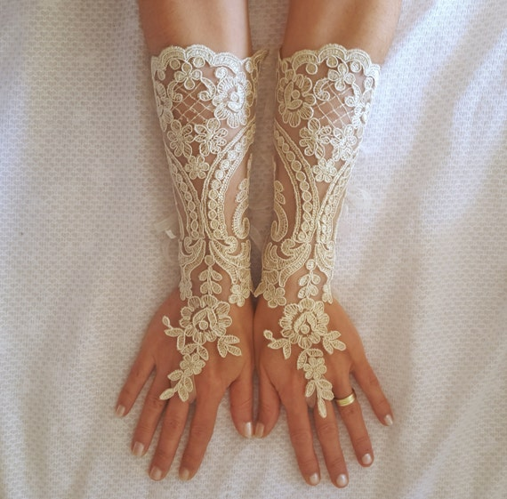 Long ivory or champagne gold   Wedding gloves free ship bridal fingerless french lace arm warmers cuff gauntlets fingerloop, Long lace glove