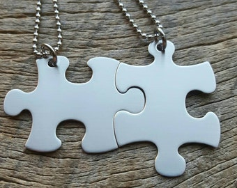 Puzzle piece NON-CUSTOMIZABLE Stainless Steel  Necklace Set - BFF Hers His Anniversary