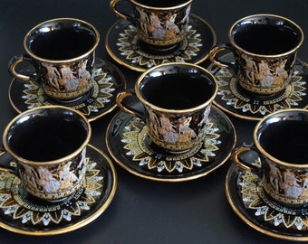 Vintage, Set of Six Greek 24 K Gold Teacup Sets
