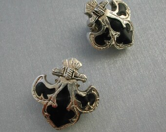 "Clip on earrings, ""Fleur de Lys"" Chantal Thomass, vintage, accessory, silver tone and black"