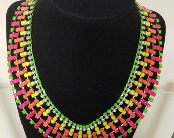 Necklace Hand Painted Rhinestone Neon Fiesta Tropical - Fun & Unique!