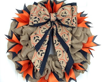 Halloween Wreath Halloween Burlap Wreath Pumpkin Wreath Unique Handmade Large Fall Wreath Pumpkin Burlap Bow Jack-O-Lantern Burlap Bow