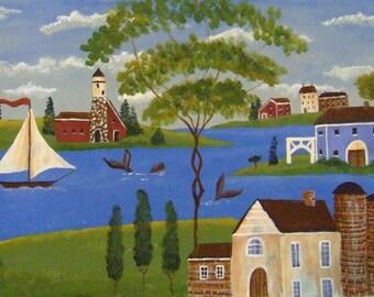 Americana Folkart acrylic painting of  a Seaside Village .