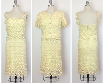 SALE /// 50s Yellow Lace Dress Set / 1950s Vintage Wiggle Day Dress / Medium / Size 6