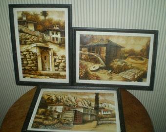 3 framed Serbian landscape drawings- original Mediterranean pastoral scenes-Vintage masculine landscapes- pen & ink rural landscapes- Serbia