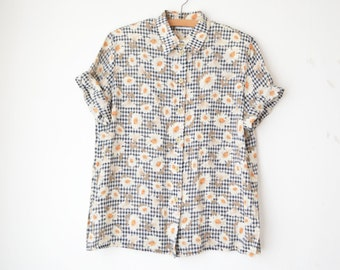 checked daisy print oversized button down boxy sheer blouse 80s // L