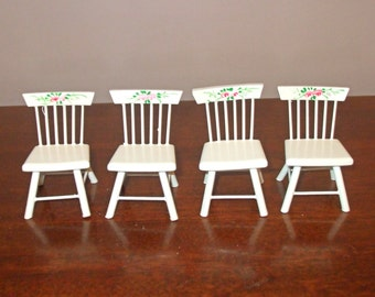 4 Vtg. Wood White Cottage Chic Dollhouse Doll House Chairs - Roses