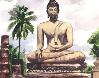Buddha, Sukothai Thailand, Thailand art, Buddha painting, Watercolor painting, Thai Buddha Painting, Watercolors Paintings Original