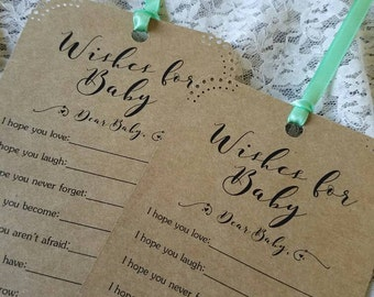 Set of 12 Baby Shower Wishing Tree Tags - Wishes for Baby / Gender Neutral / Kraft Paper Vintage Rustic / Baby Shower Game /