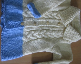 Hand Knitted Toddler Jacket. Cable Knit Jacket. White and Blue Hand Knit Jacket. Gift under 40 USD. Ready to Ship.