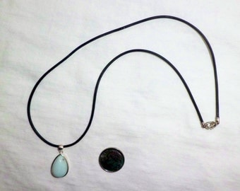 "Genuine Larimar Sterling Silver Pendant Necklace 16 inches Teardrop Cabochon Black Cord Removable 925 16"" Blue Dominican Republic"