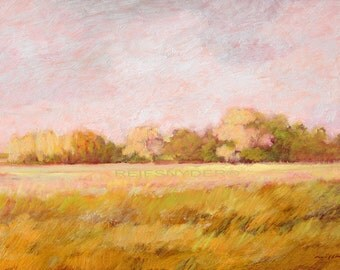Landscape print country field, impressionism, paper, art, pictures, light green, yellow, pink, grasses, country scene, sunny, from painting
