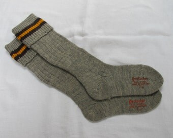 """Vintage 1940's WW2 Era Grey with Yellow and Brown Band Wool Boy's School Evacuee Socks - Size 7"""""""