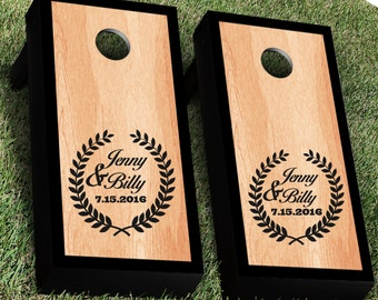 Personalized Wreath Wedding Cornhole Decal Set | Bride and Groom CornHole Sticker | Personalized Wedding Cornhole| Wreath Cornhole