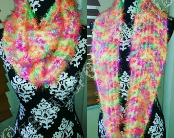 Clearance Soft Crochet Fuzzy Neon Infinity Scarf Ready to be shipped today