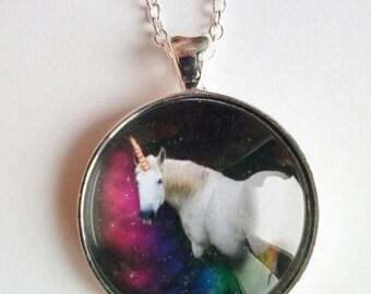 rainbow unicorn horse pendant necklace