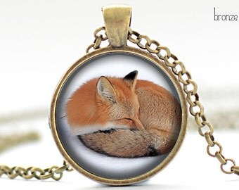 fox red fox rabbit picture pendant necklace